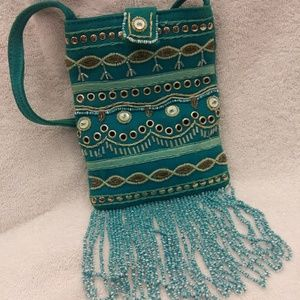 Handbags - Bohemian mini bag with beaded fringe festival